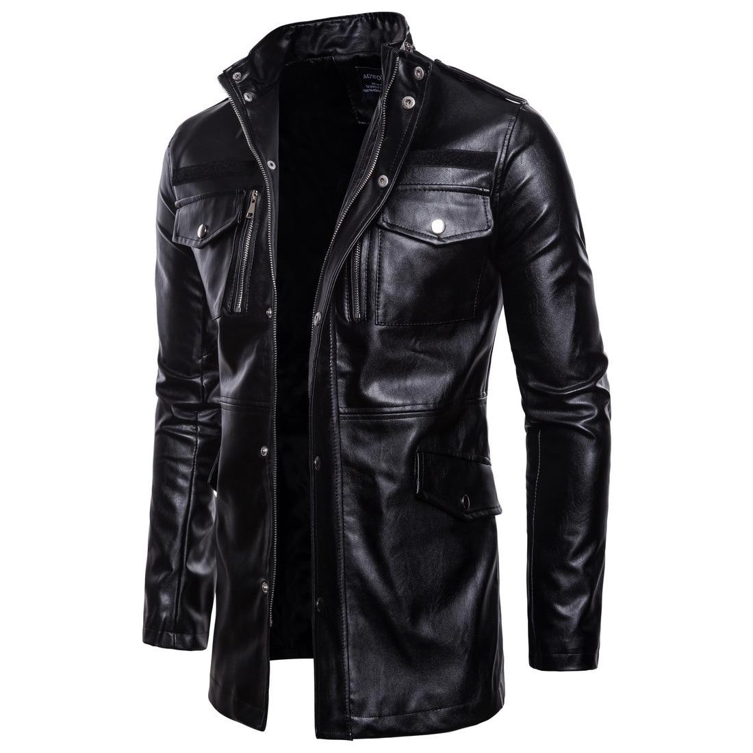 2018 Neue Herbst Winter Männer Lange Leder Jacken Mäntel Kleidung Mann Stehen Kragen Vier-tasche Motorrad Leder Jacke Plus Größe Attraktives Aussehen