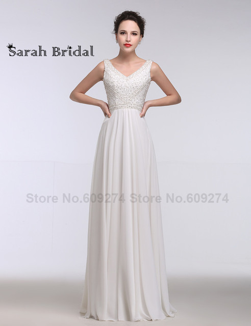 Luxurious Wedding Dresses Vintage Chiffon Beach Bridal Gowns with V ...