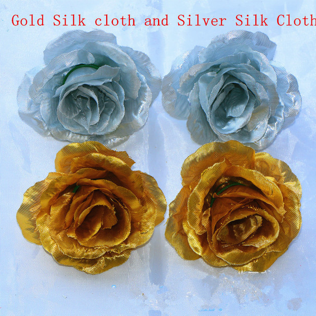 50pcslot silver rose heads artificial gold flowers wholesale silk 50pcslot silver rose heads artificial gold flowers wholesale silk flower heads diy wedding gold mightylinksfo