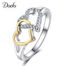 e0d62a3b001a De moda de doble corazón Anillos para las mujeres oro Color y AAA circón  joyería de moda para los amantes Anillos desgaste diari.