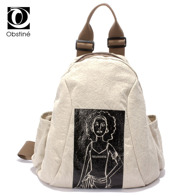 Women Large Vintage Canvas Backpack Women s Multifunctional Shoulder Bag  White Cotton Fabric Bagpack Woman School Bags 8cdf7b0ac3