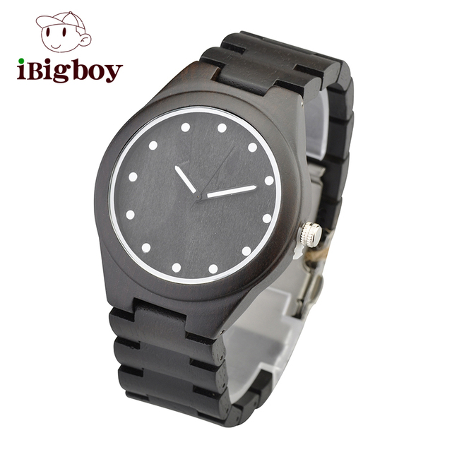 Ibigboy Mens Ebony Wooden Watch Embossing Wood Dial Vintage Watch for Mens Fashion and Cassual Watch