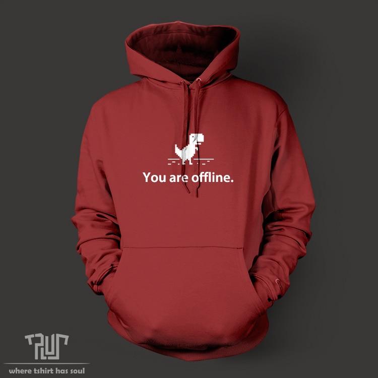 Free Shipping cute 8bit dinosaur offline font b men b font pullover font b hoodie b