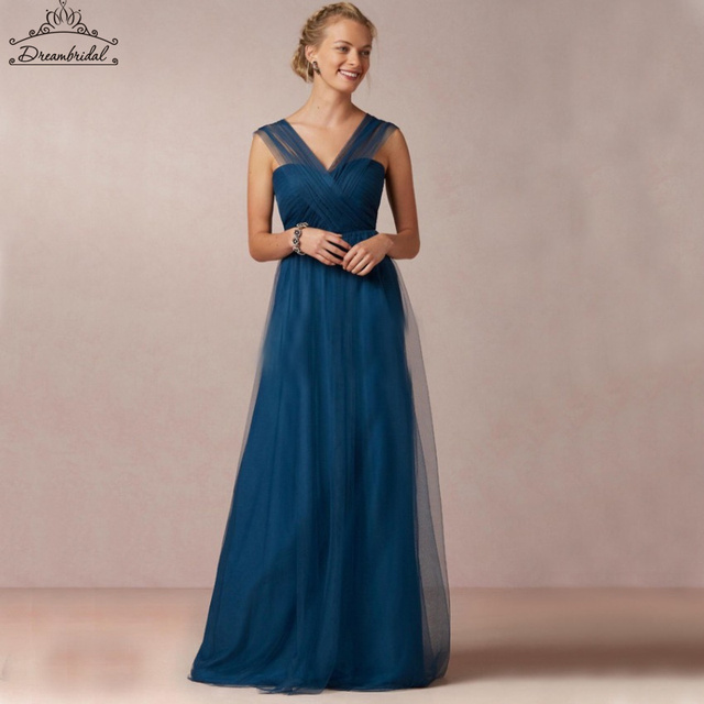 Long Bridesmaid Dresses Simpletulle V Neck Criss Cross Wedding Guest