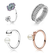 Crystal Lotus Flower Silver Rings Charms Rose Gold With Pearl Finger Ring For Women Wedding Party Jewelry High Quality New Style 2018 new rings with 5 colors 14 mm shell pearl for women ladies wholesale jewelry flower lotus leaf fashion crystal large ring