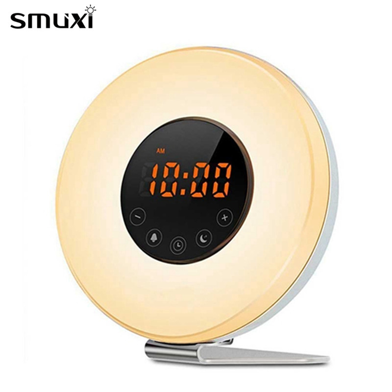 Smuxi Night Light Upgraded Sunrise Sunset Simulation Alarm Clock & FM Radio Smart Lamp 2W Colorful Touch Control Wake Up Light novelty run around wake up n catch me digital alarm clock on wheels white 4 aaa