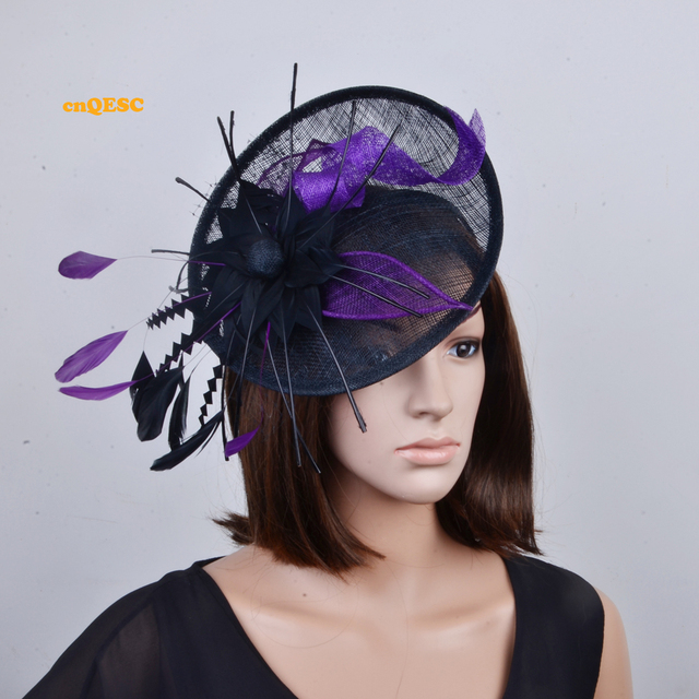 969187d52751c Purple black big sinamay fascinator with feathers for Tea Garden party Royal  Races Kentucky derby.