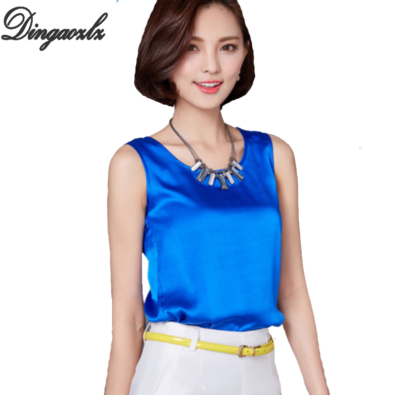 New Fashion Women Blouse Sleeveless Summer Tops Blusas 2019 Solid Color All-Match Silk Vest Shirt Plus Size Casual Chiffon Shirt