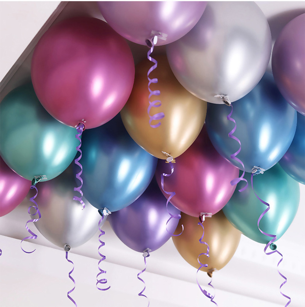 10pcs 12inch new chrome metal latex balloons Wedding celebrations thickened balloons Birthday party decorations balloons in Ballons Accessories from Home Garden