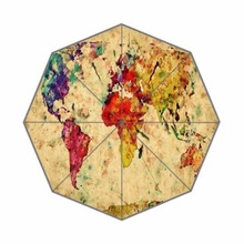 Our Earth Home World Map Custom Umbrella Sun Rain Foldable 100% Fabric And Aluminium for Women