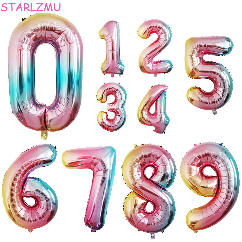 STARLZMU 1pcs 32inch Rainbow Number Balloons 0 1 2 3 4 5 6 7 8 9 Digital Foil Balloon 1st Birthday Party Decoration Air Globos-in Ballons & Accessories from Home & Garden