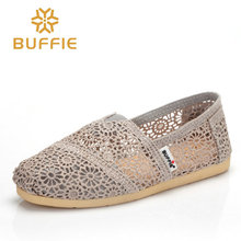 BUFFIE female slip on shoes women flat summer loafers breathable basic shoes girl classic colours casuals fabric soft lady shoes