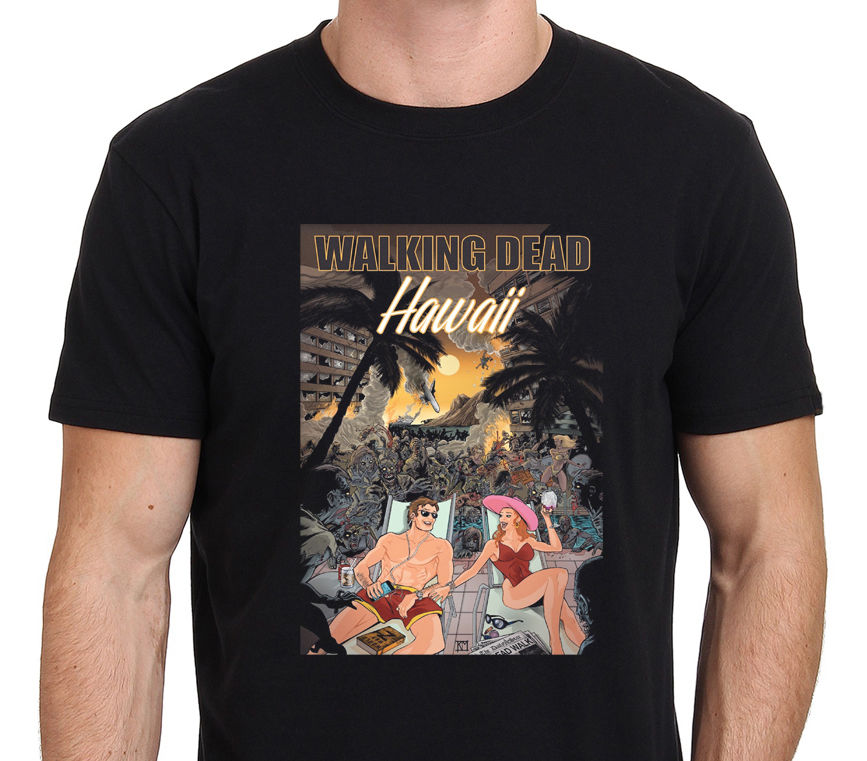 Walking Dead Hawaii Funy Illustration Mens T-Shirt Size: S-to-3XL Fashiont Shirt Free Shopping Male Designing T Shirt