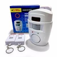 Alarme sem fio pir/sensor de movimento + 2 controlos remotos  alarme anti-roubo 105db