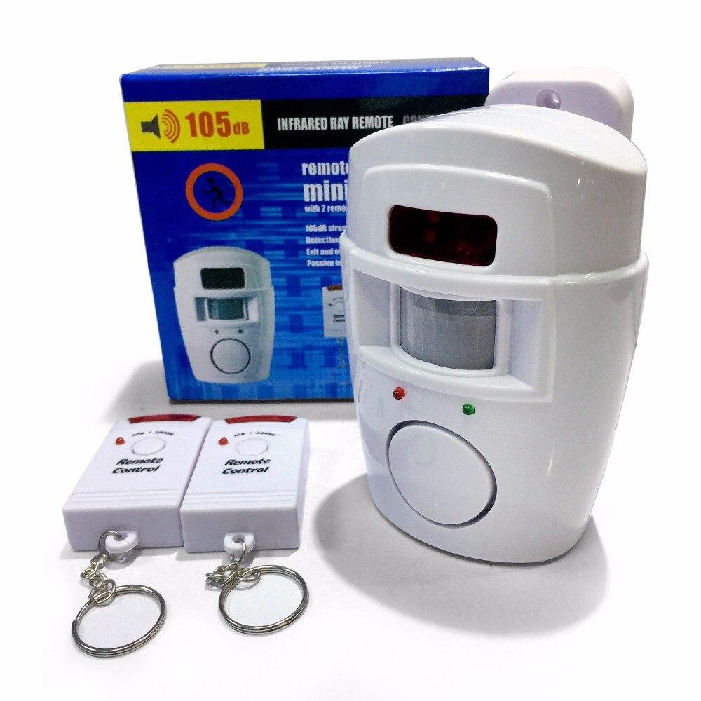 Sem fio pir/sensor de movimento alarme + 2 controles remotos alarme assaltante 105db