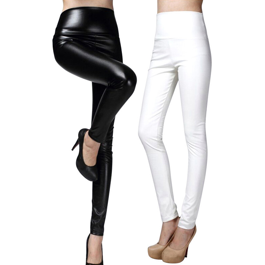 High Quality PU Leather Pants Women Winter female high waist  elastic pu leather fleece stretch Slim women pencil pants
