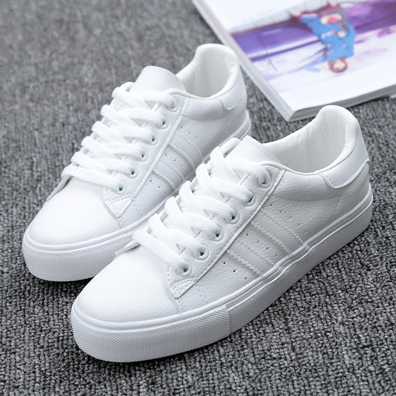 Shoes Woman New Fashion Casual Platform Striped PU Leather Classic Cotton Women Casual Lace-up White Winter Shoes Sneakers 1