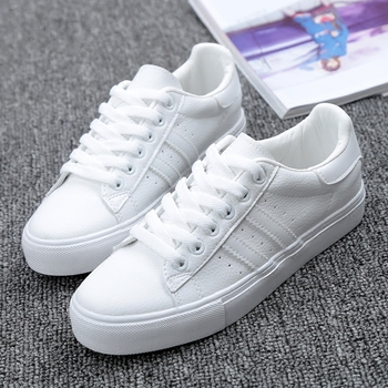 Shoes Woman New Fashion Casual Platform Striped PU Leather Classic Cotton Women Casual Lace-up White Winter Shoes Sneakers new fashion women white shoes flats platform student female korean soft casual rubber lace up pu leather joker superstar ks 508