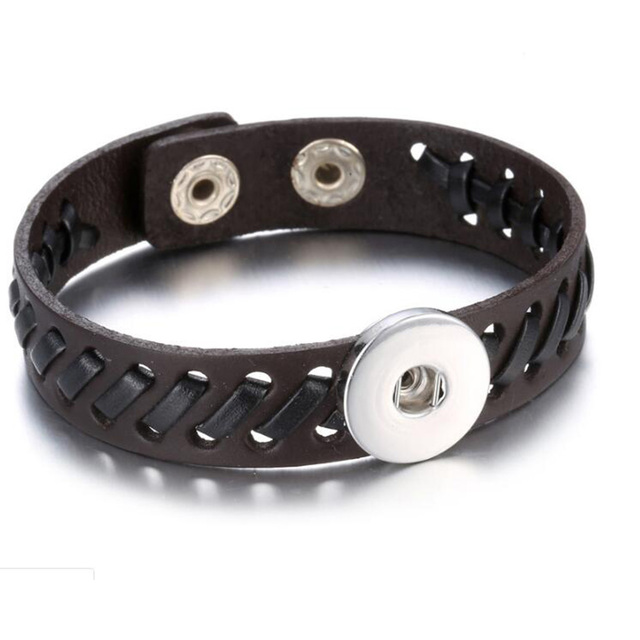 Rhinestone Snap Bracelet Real Genuine Leather Fit 18mm Snap Button