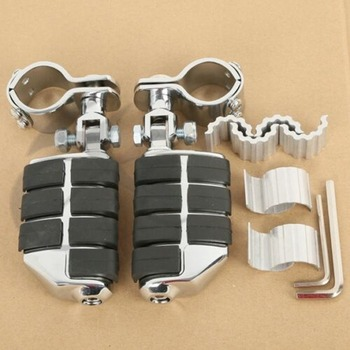 "Motorcycle Chrome Dually 1-1/4"" Highway Foot Pegs FootPegs For Harley YAMAHA Honda GoldWing GL1500 GL1100 GL1200"