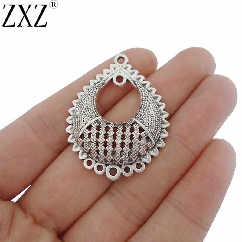 ZXZ 10pcs Chandelier Earring Multi Strand Connectors Charms Pendants For Jewelry Making Findings 39x31mm
