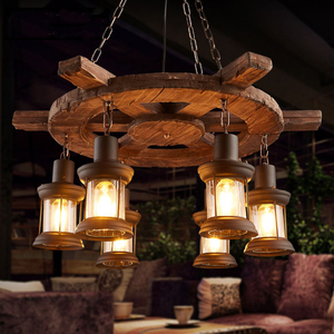 Image 5 - Retro Bar Industrial Wind Chandelier Loft Solid Wood Personality Restaurant Bar Industrial Coffee Shop Industrial Chandelier