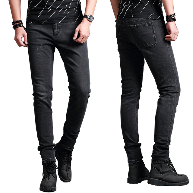 2018 New Men's Jeans Skinny Grey Dark Men's Jeans Fashion Smart Business Casual Wear Boutique Jeans High Quality Elasticity Comf