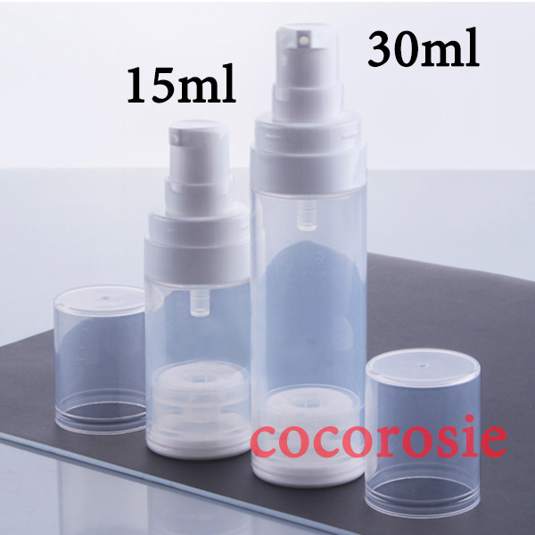 30pcs/lot 15ml 30ml Empty Clear Airless Pump Bottle Cosmetic Container Vacuum Bottles Airless bottles For Body Lotion,Serum