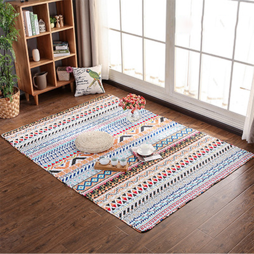 Yazi Pure Cotton Geometric Carpet Soft Large Floor Mat