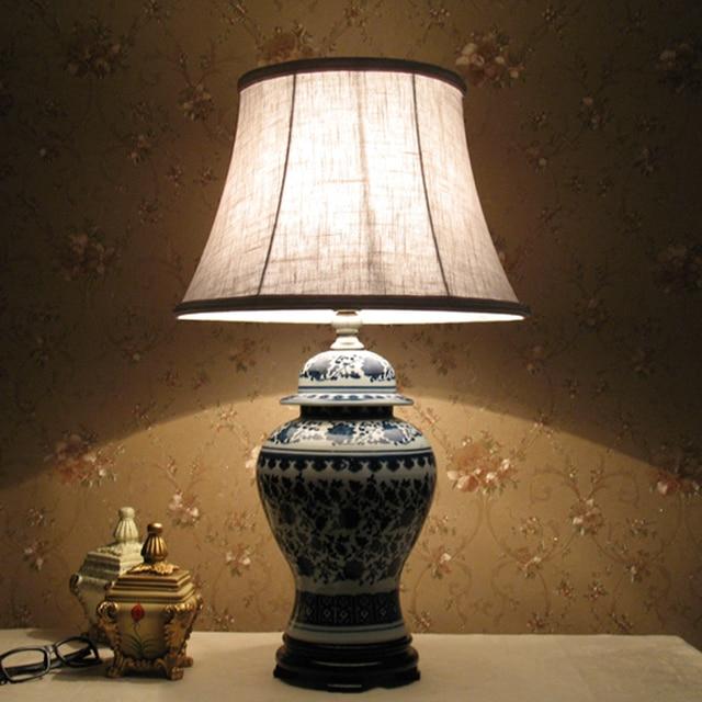 Jingdezhen lámpara de mesa de cerámica azul y blanco porcelana ...