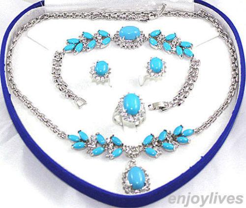 Vente chaude nouveau-Turquoise WGP Lien Pendentif En Cristal Collier Bracelet Boucle D'oreille Anneau Ensemble de Bijoux