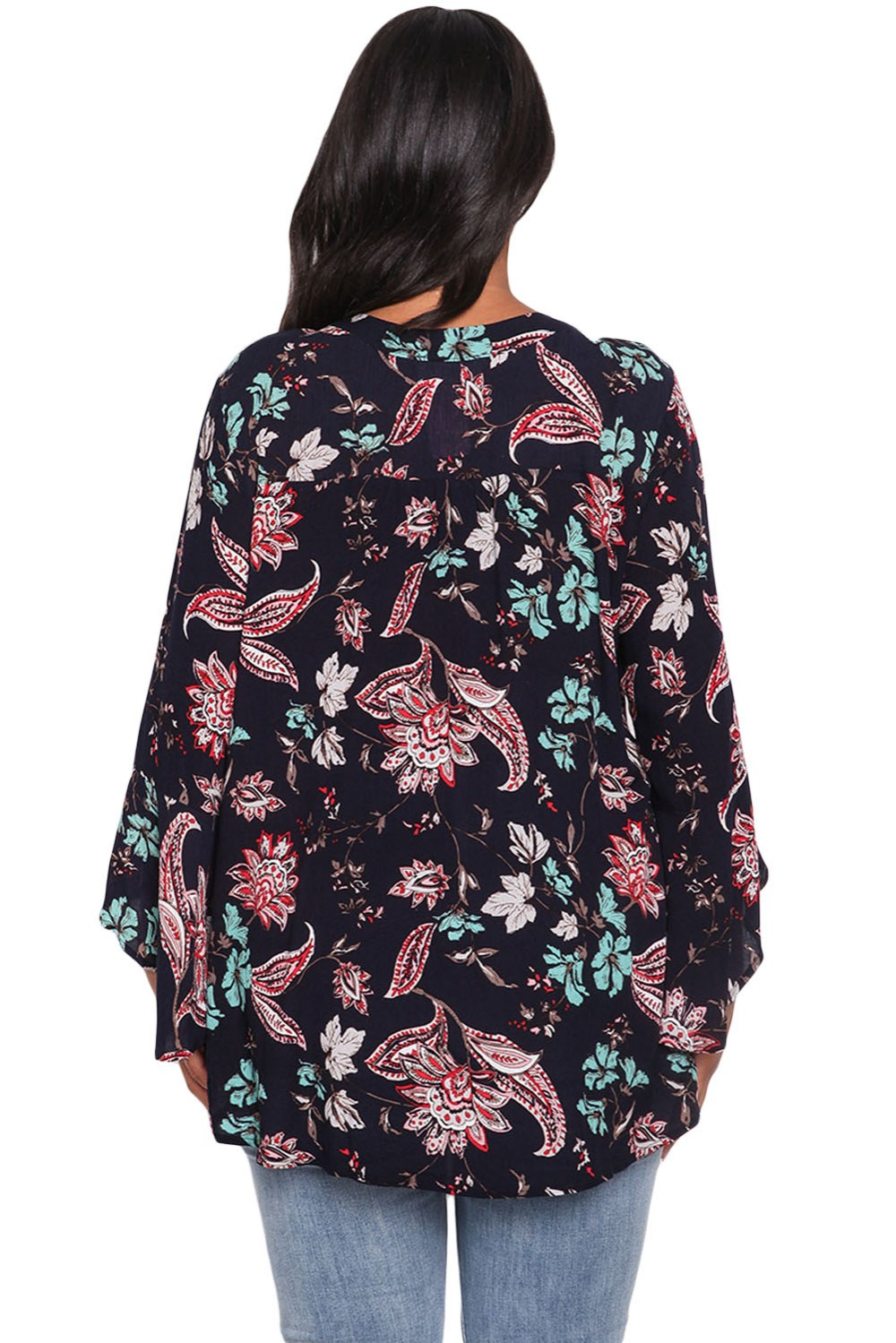 8129be3a7cc X 2X 3X V Choker Neck Shirt Printed plus size Bell Sleeve Blouse Casual Top  for Women bohemian top Basecolor Floral Paisley Sale-in Blouses   Shirts  from ...