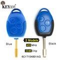 KEYECU 433 МГц 4D63 чип P/N: 6C1T15K601AG 3 кнопки дистанционный ключ-брелок от машины для Ford Transit WM VM No/с синим/черным лезвием FO12