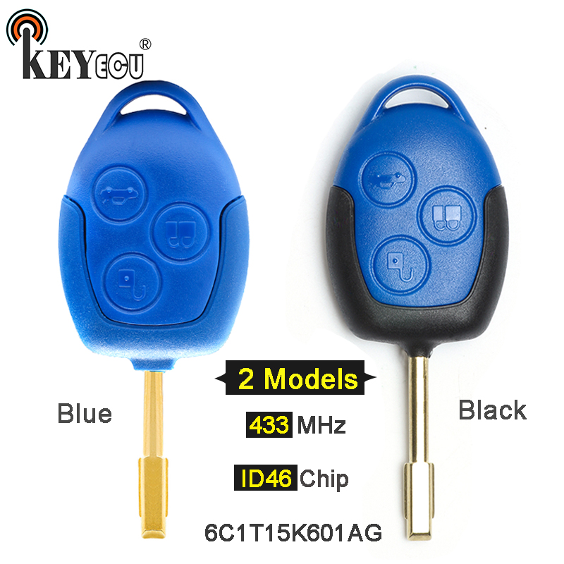 KEYECU 433MHz 4D63 Chip P/N:6C1T15K601AG 3 Button Remote Car Key Fob for Ford Transit WM VM No/With Blue / Black Blade FO12 63a 3 p 3 p n rcbo rcd выключателя de47le delxi