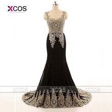 Hanım Aplikler Dantel Kristal Mermaid Abiye Sweep Tren Vestidos De Gala Siyah Balo Elbise 2016 SA203