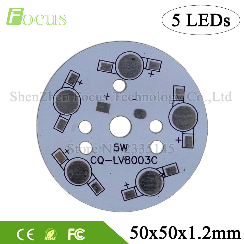 Wholesale <font><b>1W</b></font> 3W 5W Aluminum Plate Dia 50mm PCB Base With 1 3 5 Watt COB <font><b>SMD</b></font> <font><b>Diode</b></font> For 5W 15W 25W Spotlight Grow Light <font><b>LED</b></font> Bulb image