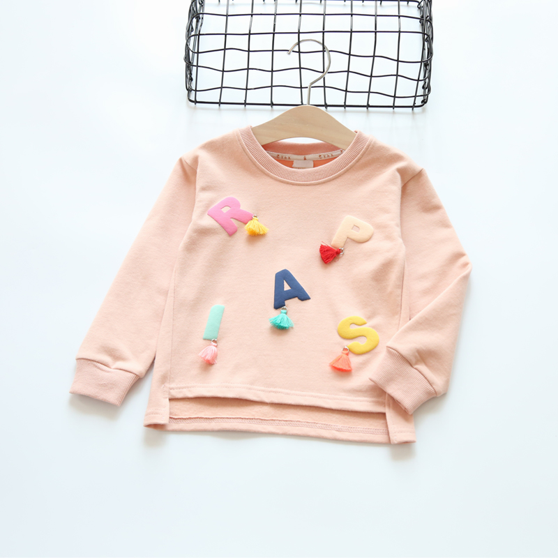 Girls T shirts 2017 full sleeve sweater for Baby Girls clothes kids t shirts letters pairs children clothing sweatershirts