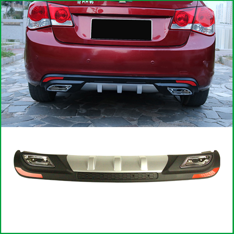 For Chevrolet Cruze Sedan 2009 2014 ABS Rear Bumper Diffuser Bumpers Protector Body kit Bumper Rear Lip Rear Spoiler Cover Trim
