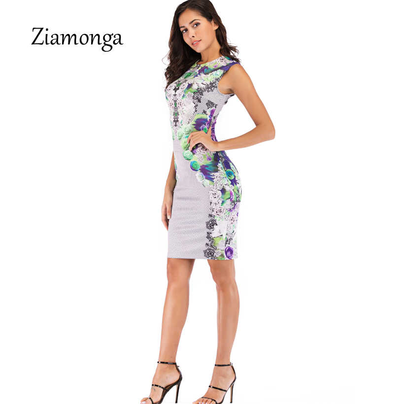 Ziamonga 2019 Summer Dresses Office Lady Sleeveless O-Neck Pencil Sexy Party Dress Women Vestidos Slim Floral Print Sexy Dresses