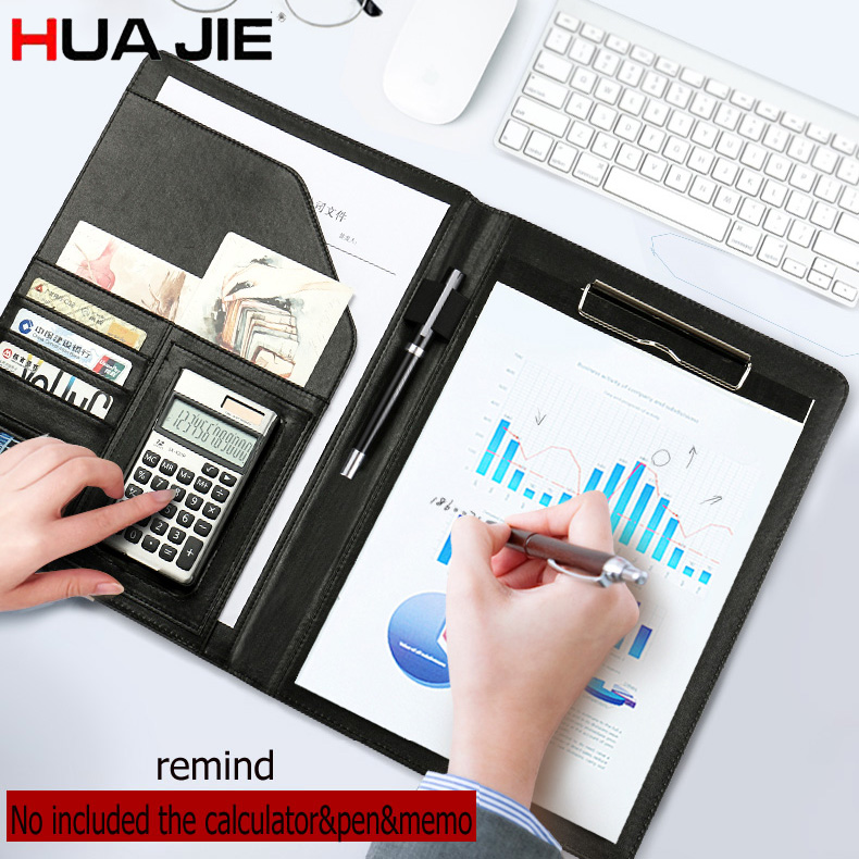 HUA JIE A4 Portfolio Resume Folder Expanding Document File Bag with Clipboard Pen holder Card Slot Business Padfolio Protectors hua jie pu leather portfolio pocket folder card holders a4 paper file document organizer bag for meeting menu covers restaurants