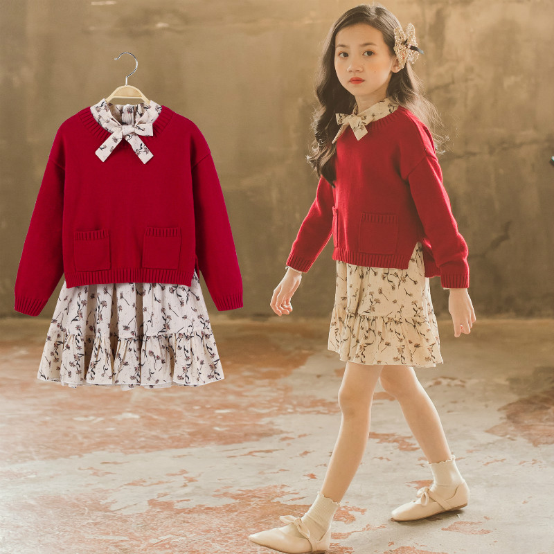 Girls Spring Autumn Long Sleeve Girls Clothing Sets Knit Sweater+Floral Dress Children Clothes Kids Sweater Dress 4-15Yrs CC888