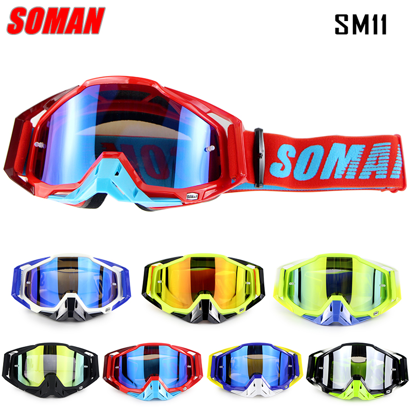 New Arrival 100% Original Soman Brand Motocross Glasses ATV Casque Motorcycle Goggles Racing Moto Bike Sunglasses SM11 new arrival soman brand motocross goggles atv casque motorcycle glasses with 5 tear off films