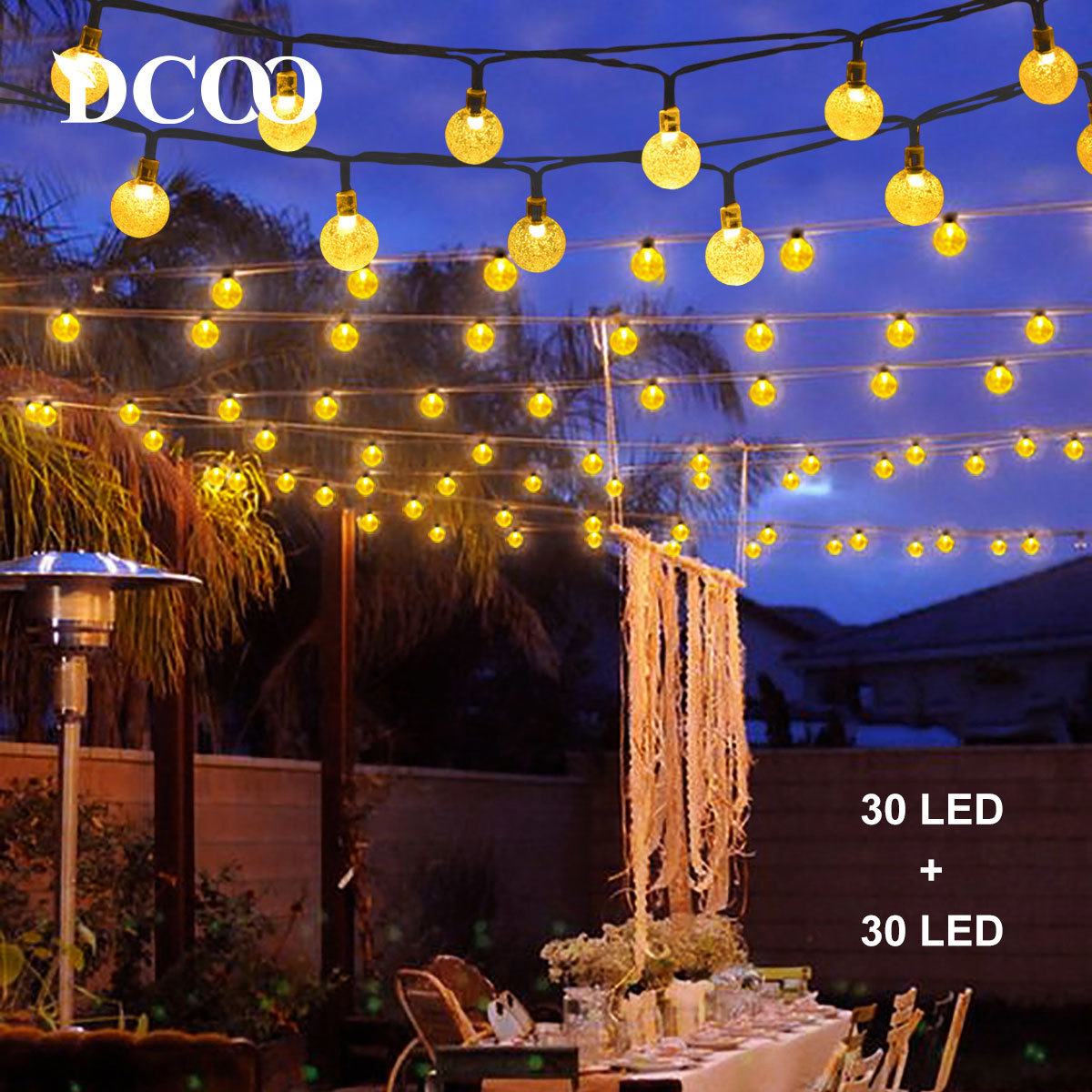 Outdoor Bistro Solar Powered Globe String Lights: Aliexpress.com : Buy Dcoo 2 Pieces Solar Powered Globe LED