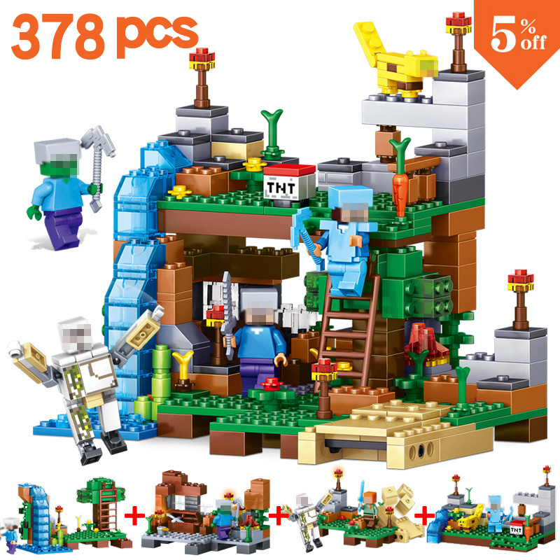 4 in 1 New 2017 Compatible Lego MY WORLD Minecrafted 378pcs  Building Blocks Bricks Set Educational toys for children gift 10551 elves ragana s magic shadow castle building blocks bricks toys for children toys compatible with lego gift kid set girls