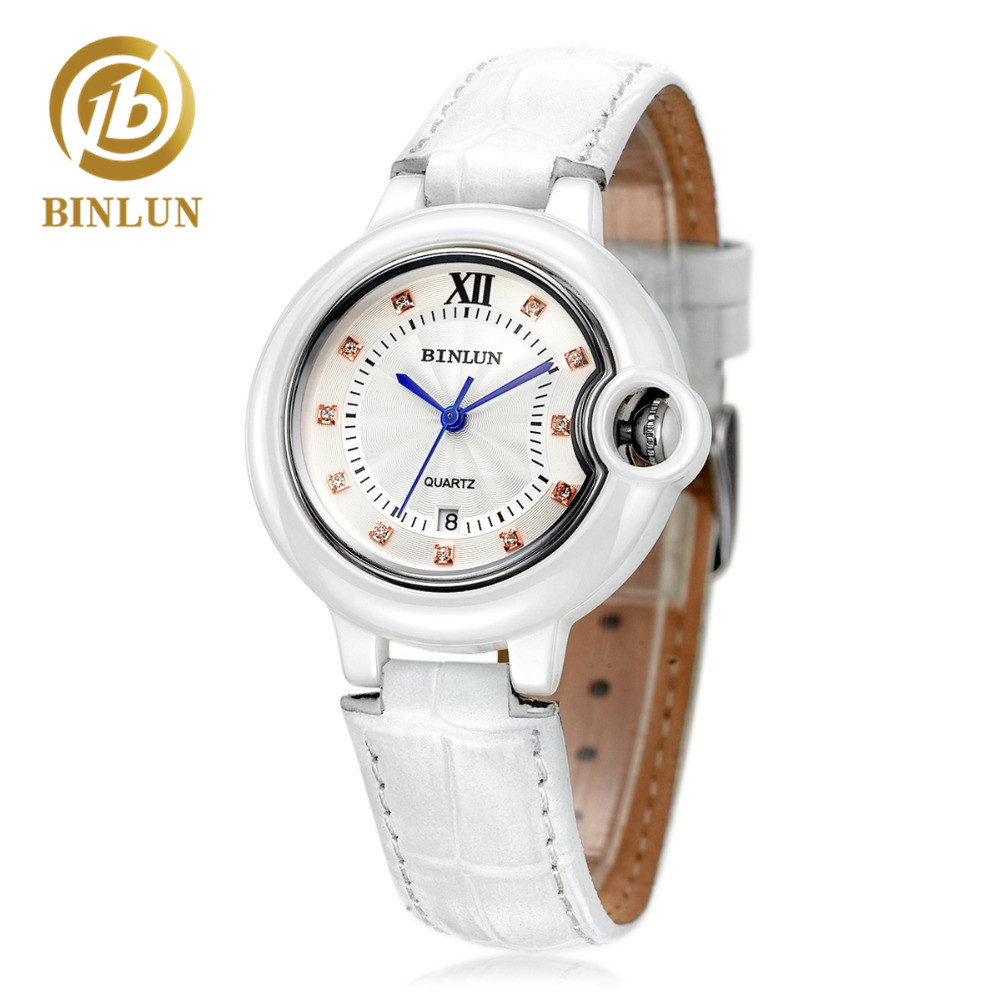 BINLUN Minimalist Women Ceramic Quartz Watch Genuine Leather Band Automatic Quartz Women Watch Lady Elegant Wristwatch For Gift 5pc lot maintenance tank chip for epson 7890 9890 7908 9890 7900 9900 7910 9910