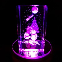 5*5*8CM 1pcs Customized 3D laser Snowman Christmas Gifts Crystal Paperweight With Colourful LED lightbase,Crystal Business Gifts