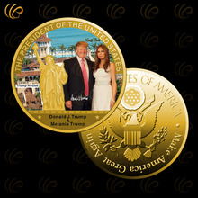American The 45th President Donald Trump and The American First Lady Gold Coin Decoration Crafts Worth Collection