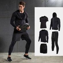 Быстросохнущие спортивные костюмы для мужчин, компрессионный набор для бега, баскетбольные колготки, спортивная одежда для спортзала, фитнеса, нижнее белье, спортивный костюм, спортивная одежда