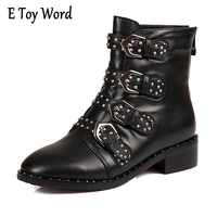 E TOY WORD 2017 New Leather Rivets Booties Buckle Straps Thick Heel Black Ankle Boots Studded
