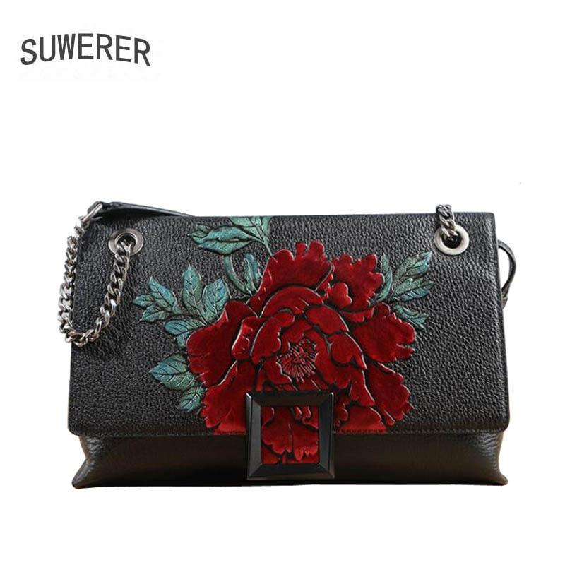 SUWERER brand bag 2018 new original banquet luxury printed shoulder Messenger bag Leather fashion square bag